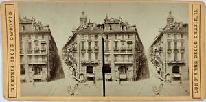 Brogi, Stéréo, Italie, Torino, via Doragrossa Vintage stereo card,  Tirage alb
