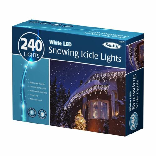 CHRISTMAS XMAS WHITE LED HANDING OUTDOOR GUTTER HOME ICICLE LIGHTS