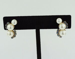 VINTAGE 14K YELLOW GOLD, PEARLS AND TANZANITE CLIP-ON SCREW BACK EARRINGS