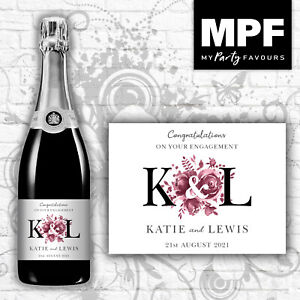 Personalised Engagement Champagne/Prosecco Bottle Label - 5 colour options (blk)