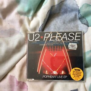 U2 Please CD Single Inc Where The Streets...With Or Without You..Staring At Live
