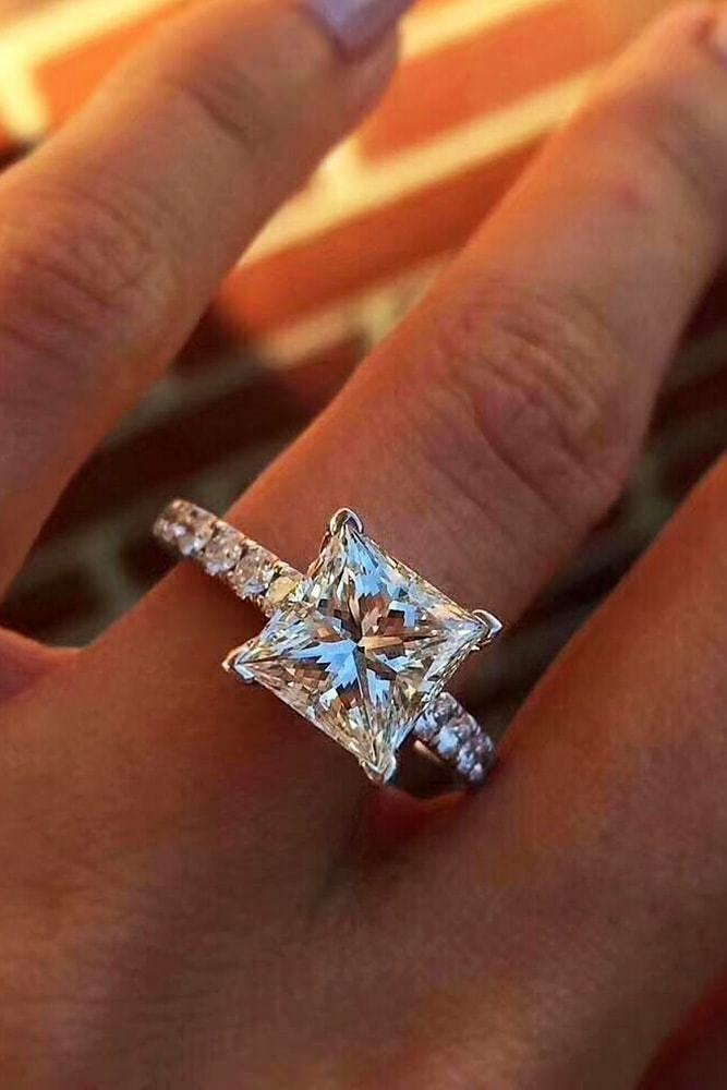 2.5Ct Princess Cut Diamond Accent Solitaire Engagement Ring 18K White gold Over