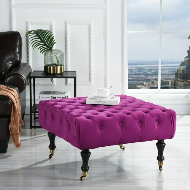 Black Victorian Large Tufted Velvet Bedroom Vanity Bench with Casters