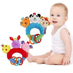Baby Cartoon Plush Rattle Ring Bell Newborn Hand Grasp Toys Squeaker For Kids G