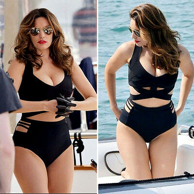 Plus Size Women Sexy Bikini Set Lady Push up Padded Beach Swimsuit  High Waist
