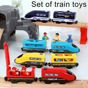Electric-Train-Set-Kid-Toy-Battery-Operated-Voice-Broadcast-W-Wooden-Track-Gift
