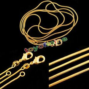 1mm-Schlange-Ketten-18K-Gold-Plated-Halskette-Kette-16-30inch-Schmuck-MIDE