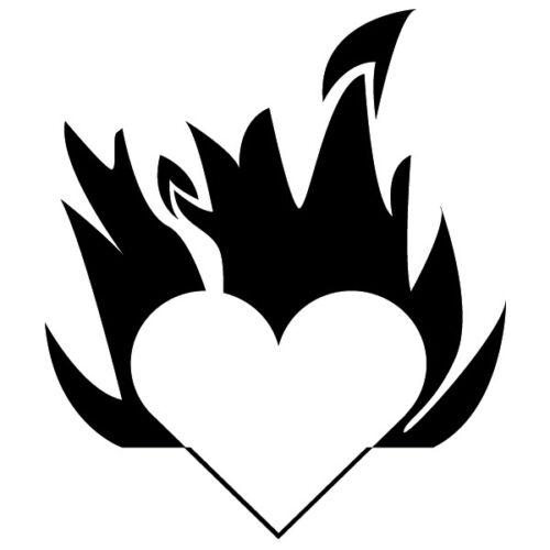 Herz Feuer Flammen Wandtattoo Tribal Liebe Symbol Wohnzimmer Wanddekoration