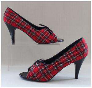 Peep-Toes-Pumps-Gr-39-US9-High-Heels-Funtasma-Schotten-Karodesign-2118