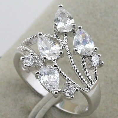 Size 6 7 8 9 white sapphire fashion jewelry gold filled ring women's gift rj1356