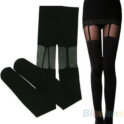 Pretty Stretchy Stockings Sweety Black Leggings Socks W/ Decorated Garters B44U