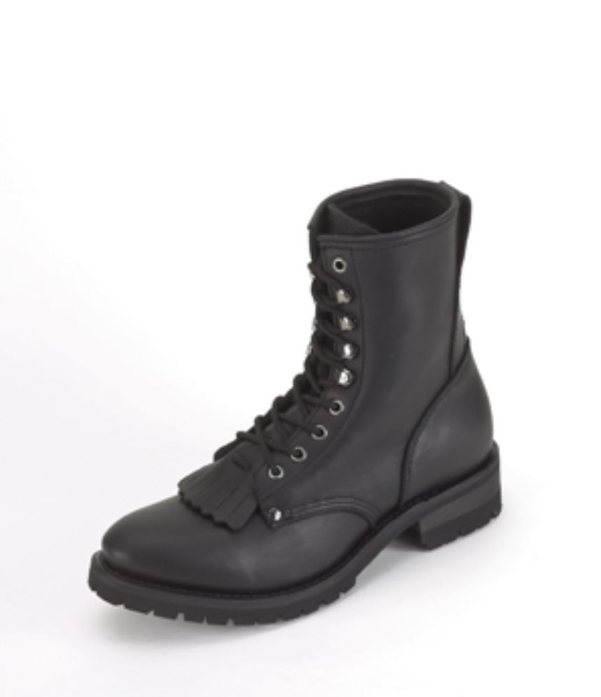 Mens Biker Boots, Black Leather Motorcycle Biker Riding Work Boot -Free Shipping