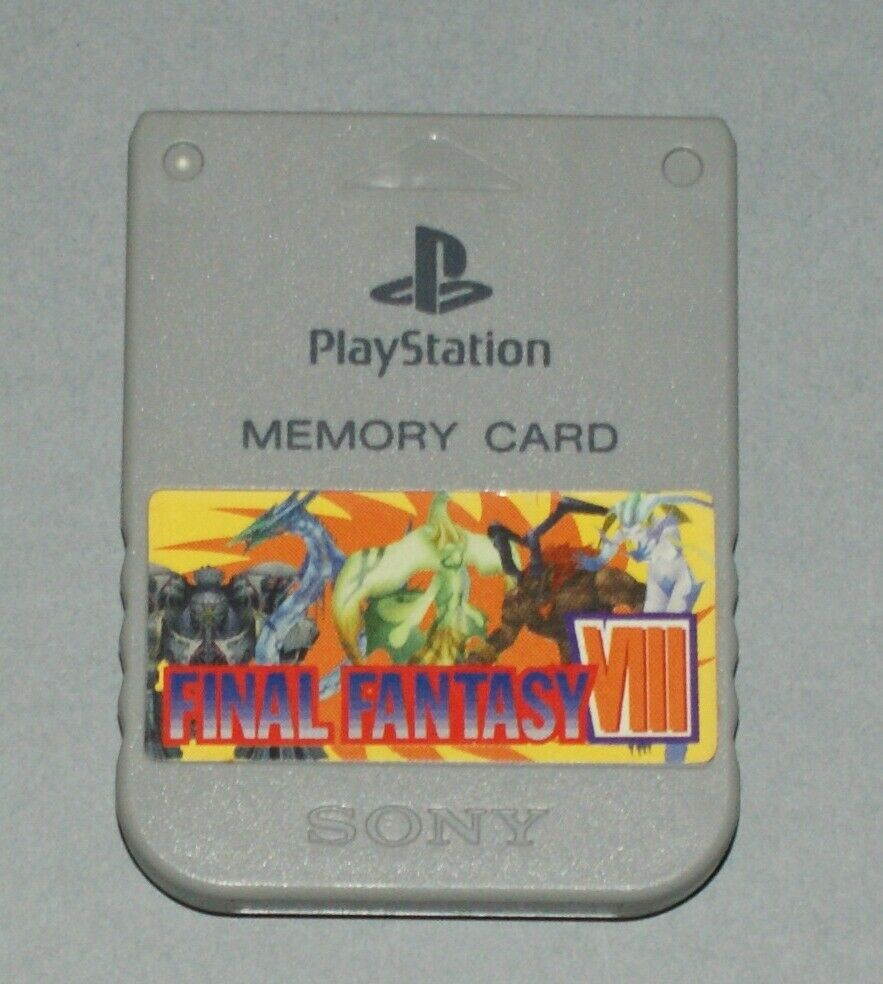 Grey Official PS1 Memory Card - Sony PlayStation One SCPH-1020 Final Fantasy 8