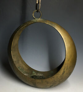 20th-C-Japanese-Ikebana-Brass-Bronze-Crescent-Moon-Hanging-Flower-Frog-Planter