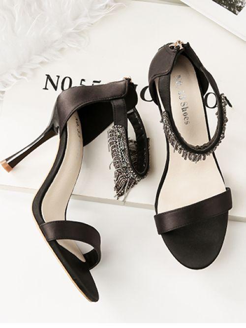 Sandale stiletto eleganti  9.5 cm nero simil pelle simil pelle eleganti 8881