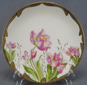 P-Donath-Silesia-Pink-Tulip-Flowers-amp-Gold-Gilt-Luncheon-Plate-Circa-1910-1916