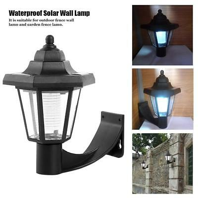 Durable Solar Power Wall Mount White LED Light Outdoor Garden Path Way Lamp
