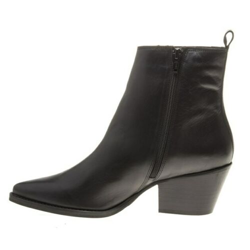 New Womens SOLE Black Poni Leather Boots Ankle Elasticated Zip