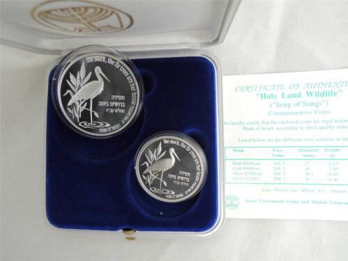 Box+COA Israel 1998 Biblical Holy Land Wildlife Stork /& Fir Tree 2 Silver Coins