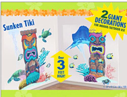 TIKI Scene Setter LUAU party wall decor tropical island PHOTO BACKDROP fish