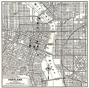 Oregon Map Image.1942 Antique Portland City Map Vintage Map Of Portland Oregon Wall