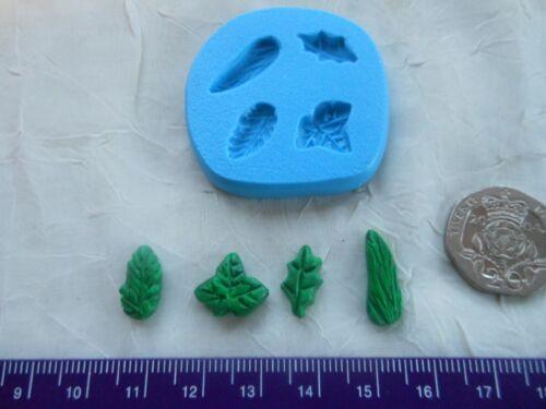 Sugarcraft//Fimo MOULD Dolls House Tiny Holly Ivy Set 4 Miniature Leaf Leaves