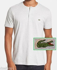 e84a55a6 NWT Lacoste Men's Contemporary Fine Striped Heathered Henley Tee ...