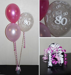 Image Is Loading 80th Birthday Helium Balloons DIY Party Decoration Kit