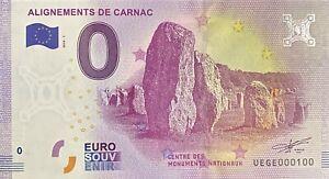 BILLET-0-EURO-ALIGNEMENTS-DE-CARNAC-FRANCE-2018-NUMERO-100