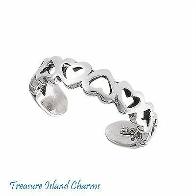Polished Sterling Silver Toe Ring with Heart Charm