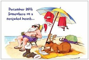 20-CHRISTMAS-Humorous-SANTA-on-BEACH-amp-REINDEER-6X4-POSTCARDS-GREETINGS