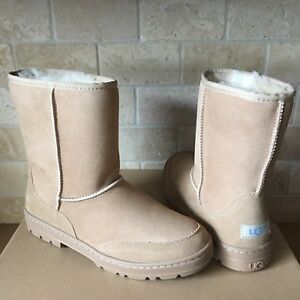 81102afb0c7 Details about UGG ULTRA SHORT REVIVAL SAND WATER-RESISTANT SUEDE FUR BOOTS  SIZE 5 WOMENS