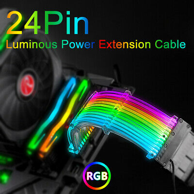 Jiangli RGB Power Supply Extension Cable 24PIN Sync Mainboard Fan Motherboard Extension Cable Rainbow Lighting