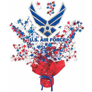Us air force party supplies red white blue centerpiece for Air force decoration writing