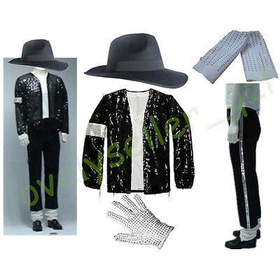 5 Pcs Unisex Michael Jackson Billie Jean Jacket+Hat+Pants+Glove+Socks MJ Outfit