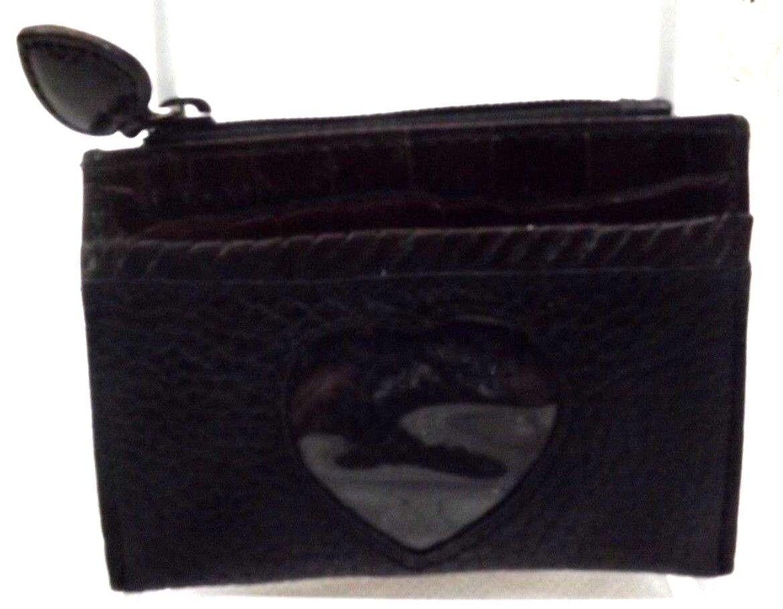 Brighton Womens Coin Mini Wallet, Black Genuine Pebbled Leather w/ heart window