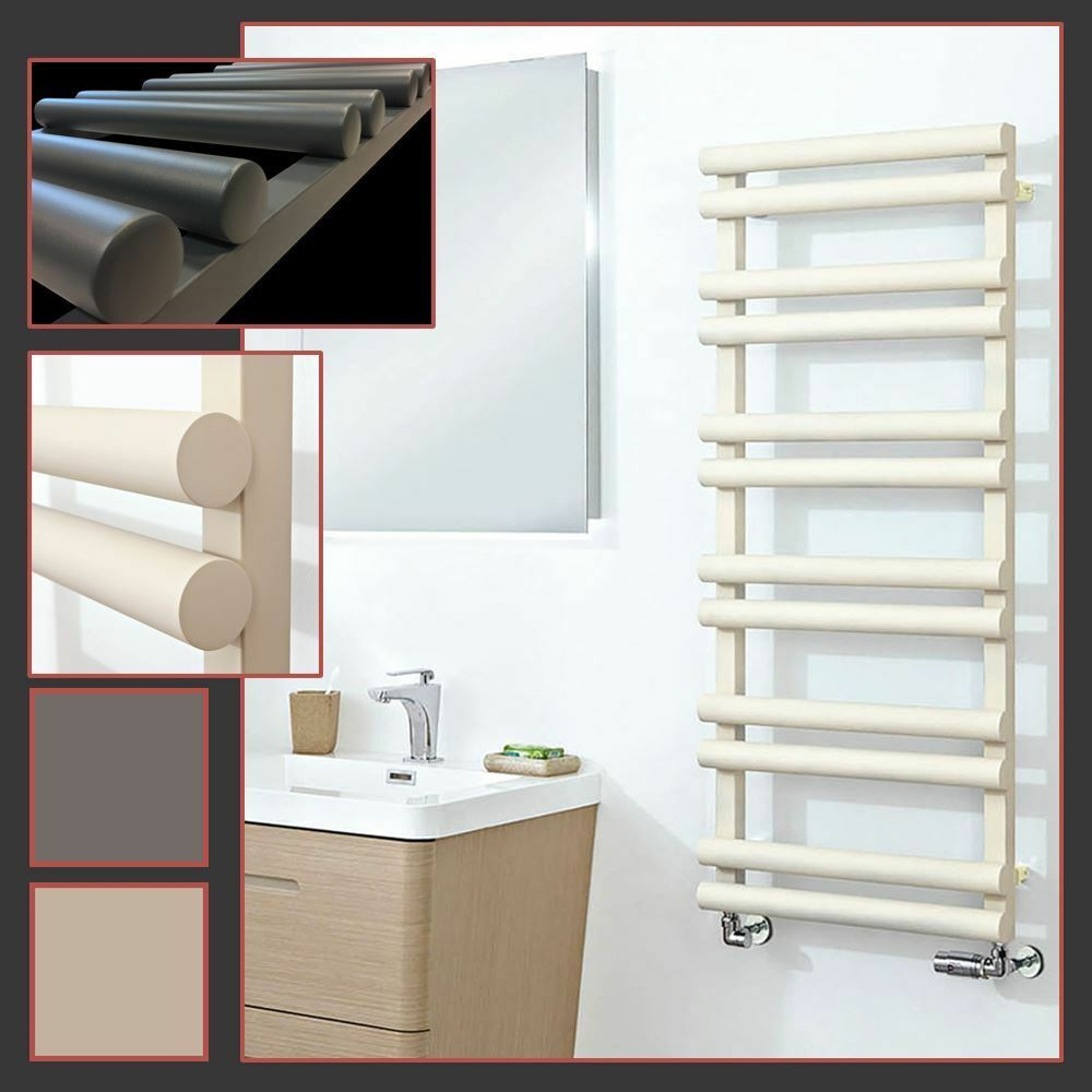 Totem  Cylindrical Designer Towel Rail Radiators (Anthracite & Latte) 3 Größes