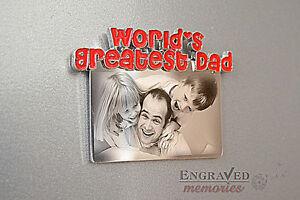 Photo-personalised-engraved-metal-fridge-magnet-unique-gift-FREE-P-amp-P