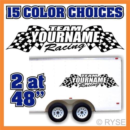 Custom Your Team Name Trailer Race Graphic Flags Decal Car IMCA Model Sprint