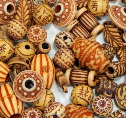 50g Kunststoffperlen Perlenmischung Tibet Antik Acryl Zwischenperlen Beige D132