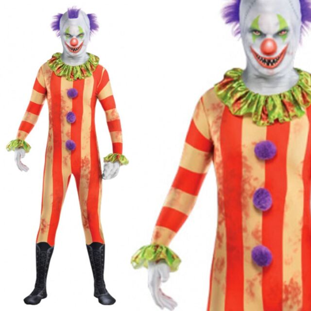 halloween killer circus clown lycra spandex skin tight suit costume one zentai