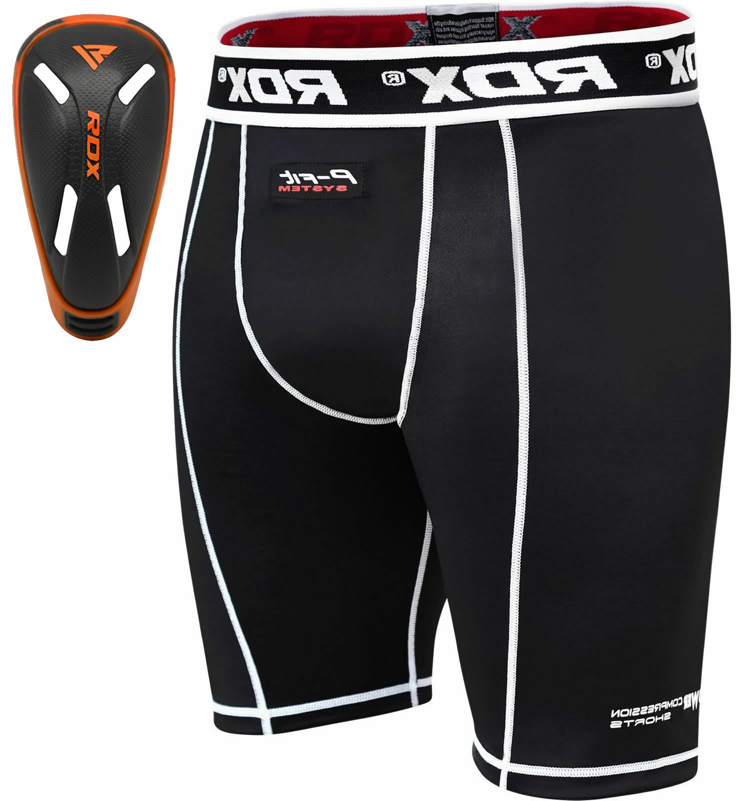 RDX Thermal Compression Flex Shorts & Gel Groin Cup Guard MMA Boxing Muay Thai