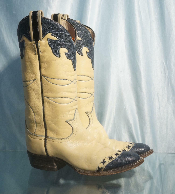 Vtg Rough Texted blu Foxed Ivory Leather  TONY LAMA Cowgirl stivali Sz 150 o 5A  negozio di sconto