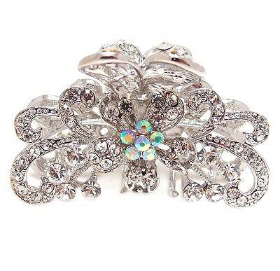 Beautiful white rhinestone crystal hair claw clip bronze alloy free shipping USA