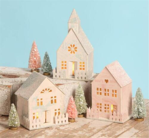 Bethany Lowe Spring Pastel Color Paper Houses and Church Set of 3