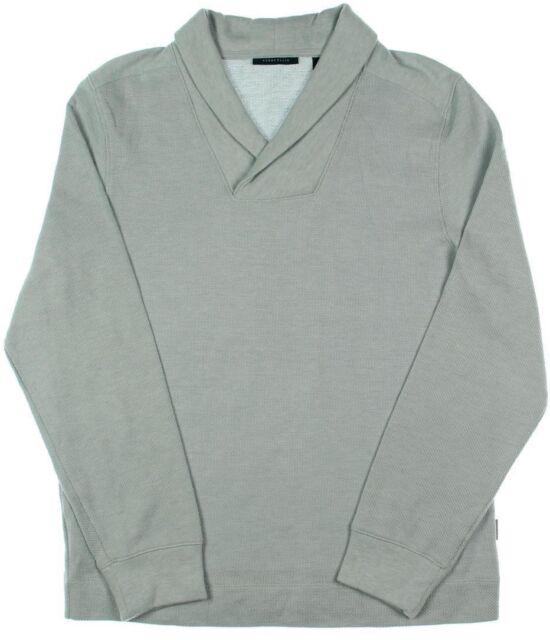 Perry Ellis Mens Sweater Size Medium  69 Gray Knit Long Sleeve Shawl-Collar 29d249aa0