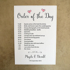 Image Is Loading A4 Personalised Order Of The Day Wedding Sign