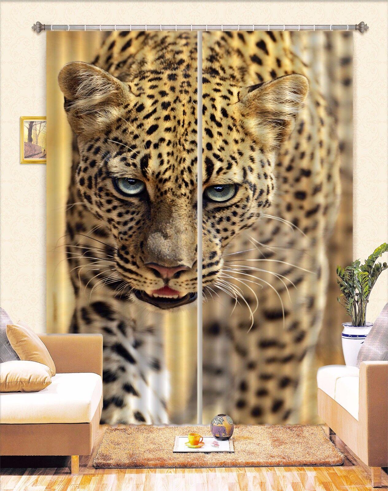 3D Guapo Leopardo 5 Blockout Foto Cortina Cortinas Cortinas Ventana De Tela CA