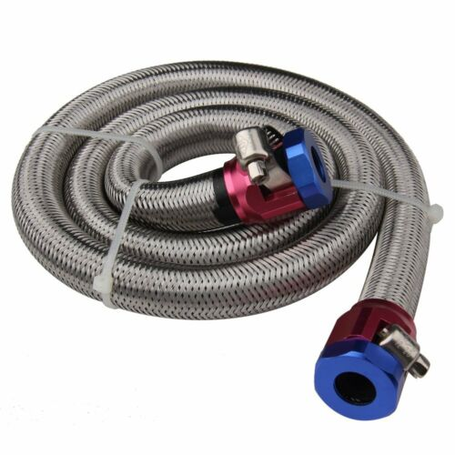 "3FT Universal Stainless Steel 3//8/"" Flex Braid Fuel Oil Line Kit With Hose Clamps"