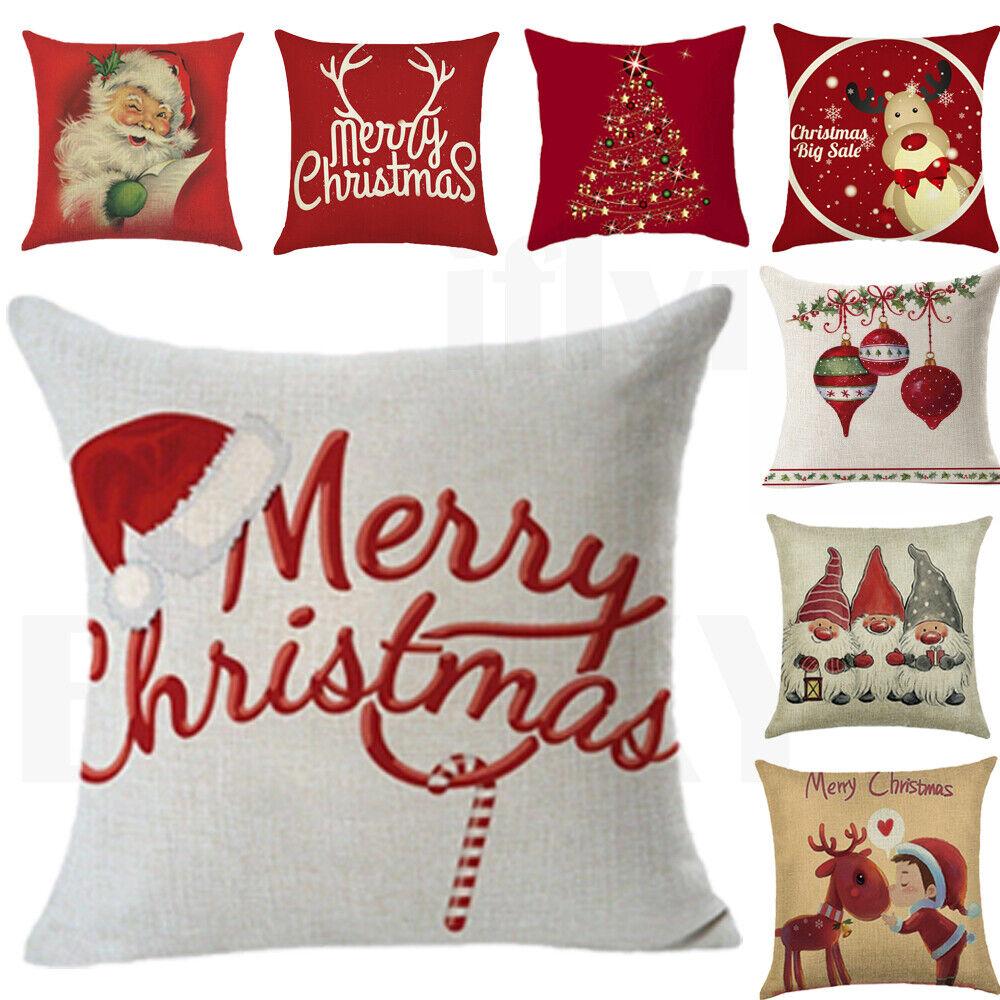 18 Christmas Xmas Cushion Cover Pillow Case Cotton Home Sofa Throw Decor Gifts